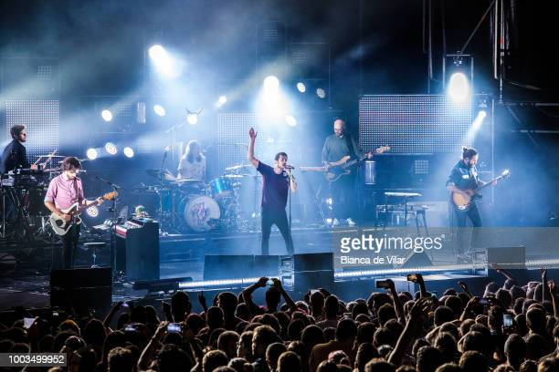 Pucho from Vetusta Morla performs in concert in Marenostrum Music Castle Park Festival Fuengirola Malaga on July 21 2018 in Malaga Spain
