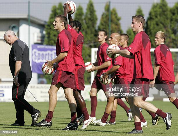 Federal coach Aime Anthuenis walks in front of his players during a training session of the Belgian National soccer team 31 August 2005 in Veurne The...