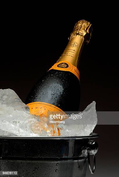 Veuve Cliquot champagne sits on ice in a studio in Paris France on Friday Dec 21 2007 As drinkers celebrate the New Year with a glass of champagne...
