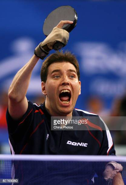 Vevera Andreas of Austria competes in the Men's Individual Class 1 Table Tennis event between Vevera Andreas of Austria and Cho Jaekwan of Korea at...