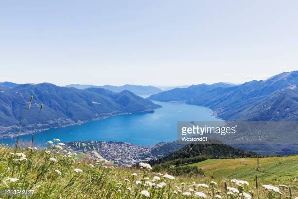 vew from cimetta mountain top to lago maggiore, locarno, ticino, switzerland - ascona stock pictures, royalty-free photos & images