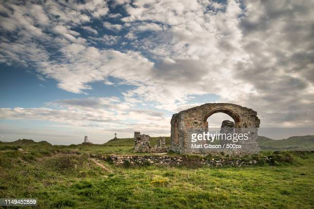 Vew Of Derelict 13Th Century Chapel On Ynys Llanddwyn Island In