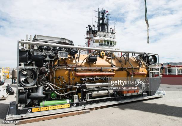 Vew of the Pressurized Rescue Module a deep diving rescue vehicle of the Submarine Rescue Diving and Recompression System to be mounted by US Navy...