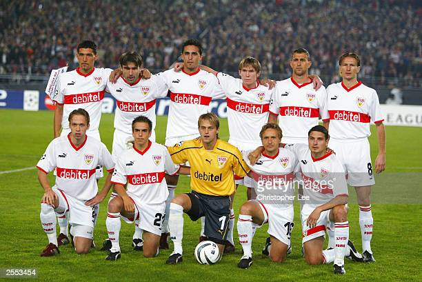 VfB Stuttgart team group pose during the UEFA Champions League Group E match between VfB Stuttgart and Manchester United at the Gottlieb Daimler...