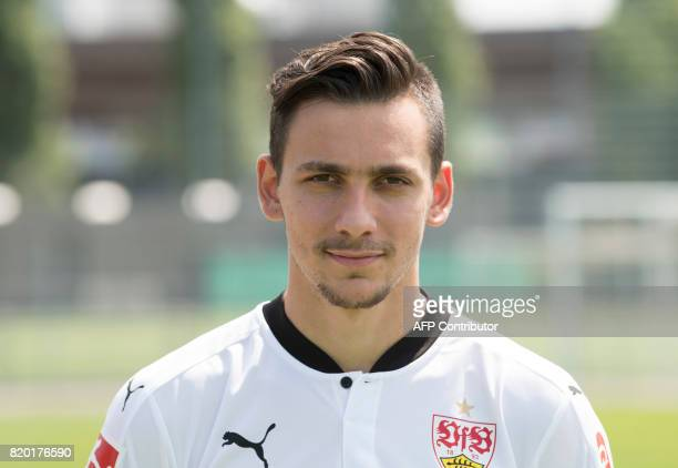 VfB Stuttgart's Greek forward Atanasios Donis poses during a team presentation of the German first division Bundesliga football team VfB Stuttgart in...