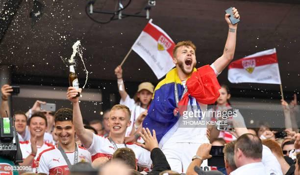 VfB Stuttgart's Romanian midfielder Alexandru Maxim and defender Timo Baumgartl celebrate after the German second division Bundesliga football match...