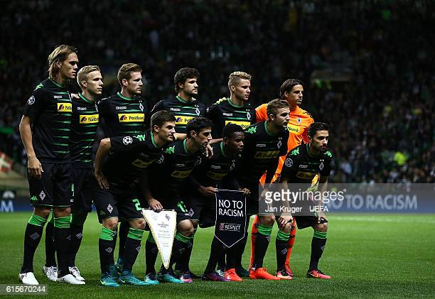 VfL Borussia Moenchengladbach players pose for a team picture with the 'No to Racism' pennant during the UEFA Champions League match between Celtic...