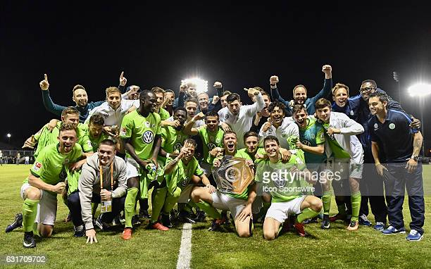 VfL Wolfsburg celebrate with the Florida Cup trophy for Germany during the trophy presentation of the Florida Cup game between VfL Wolfsburg and...