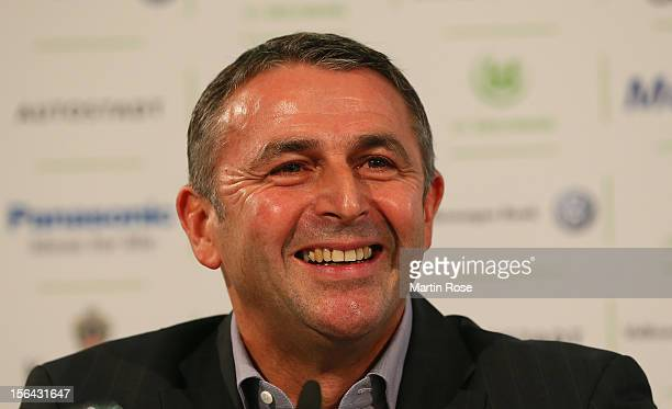 VfL Wolfsburg presents Klaus Allofs as its new sporting director for the current Bundesliga season at Volkswagen Arena on November 15, 2012 in...