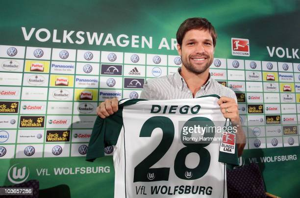 VfL Wolfsburg presents Ribas Da Cunha Diego as its new player for the current Bundesliga season during a press conference at Volkswagen Arena on...