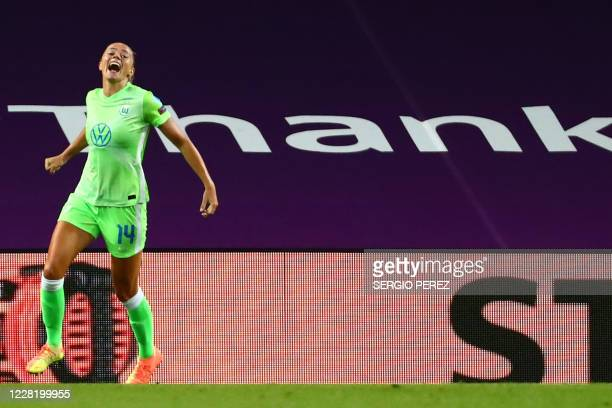 VfL Wolfsburg's Swedish midfielder Fridolina Rolfo celebrates her goal during the UEFA Women's Champions League semi-final football match between VFL...