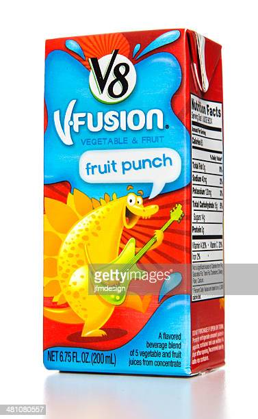 v8 vfusion vegetable and fruit punch - juice carton stock photos and pictures