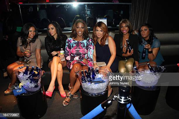 Vh1's The Gossip Game castmembers Angela Yee Sharon Carpenter Jas Fly Kim Osorio K Foxx and Ms Drama attend the Vh1 The Gossip Game Press Reception...
