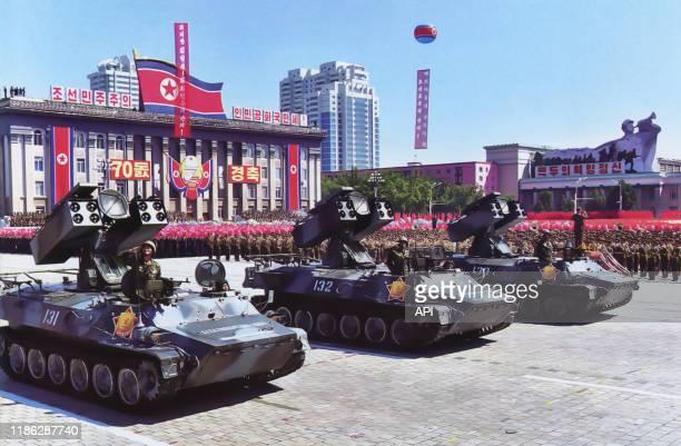 Véhicules lance-missiles lors de la parade de l'anniversaire des 70 ans de la création de la Corée du Nord à Pyongyang, le 9 septembre 2018, Corée du...