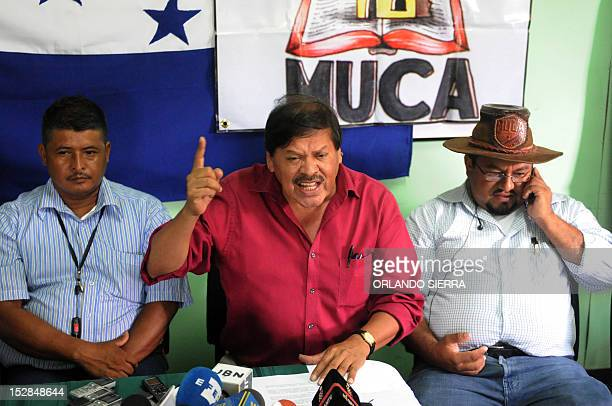 Via Campesina farmers organization coordinator general Rafael Alegria answers questions during a press conference in Tegucigalpa on September 27 2012...