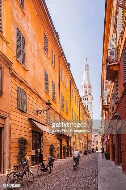 via cesare battisti in modena, italy - modena stock pictures, royalty-free photos & images