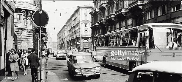 Via Dante in Milan In the background a view of Castello Sforzesco Milan 1971