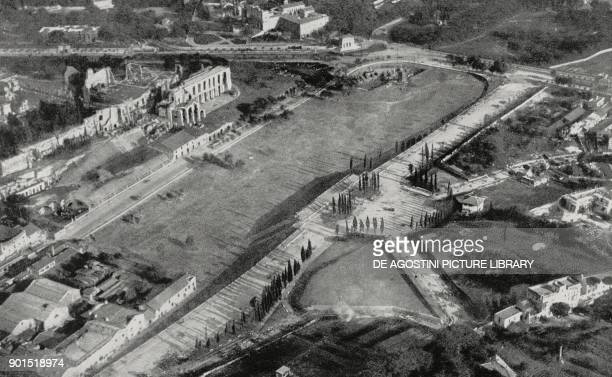 Via del Circo Massimo restored to its original trim during the fascist years seen from above Rome Italy photo from L'illustrazione Italiana year LXI...