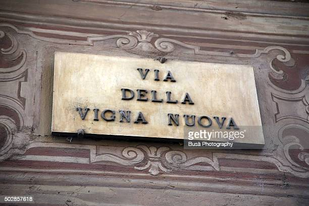 """""""Via della Vigna Nuova"""", traditional marble street name sign in Florence, Italy"""