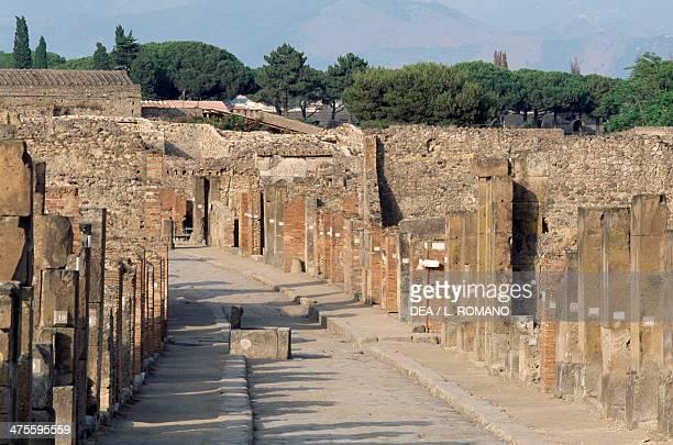 Via dell'Abbondanza lower decumanus of Pompeii Campania Italy Roman civilisation