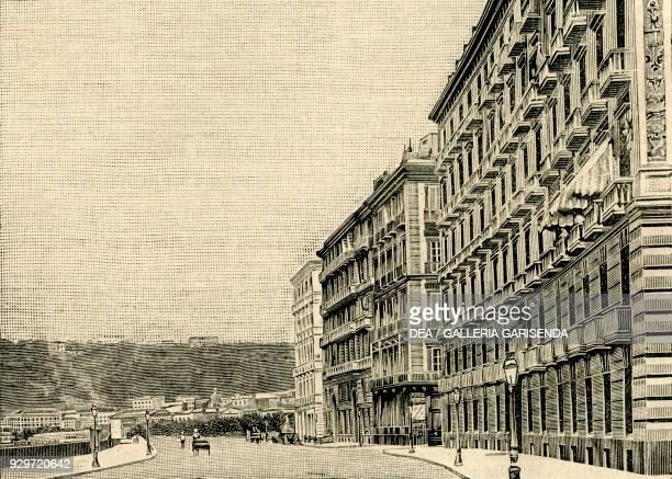 Via Francesco Caracciolo Naples Campania Italy woodcut from Le cento citta d'Italia illustrated monthly supplement of Il Secolo Milan 1902