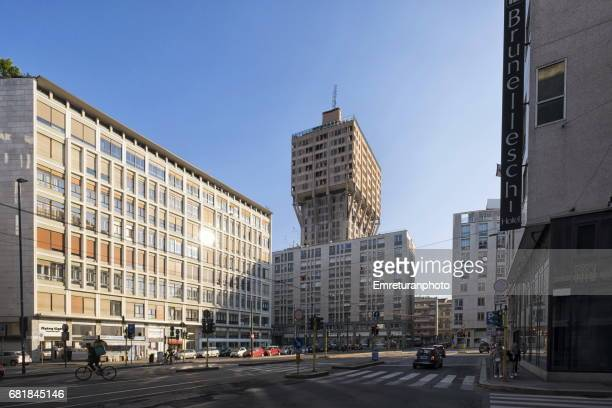 via larga with torre velasca building,milan. - emreturanphoto stock pictures, royalty-free photos & images