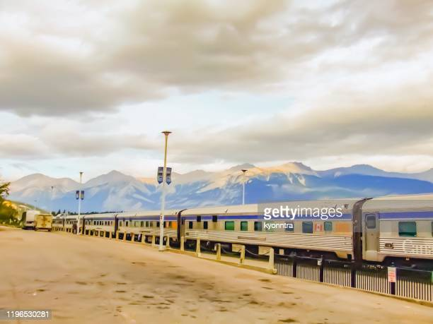 via rail train at jasper station - kyonntra stock pictures, royalty-free photos & images