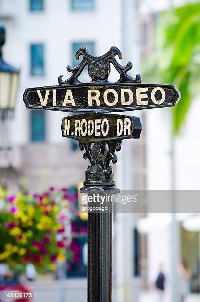 via rodeo sign in beverly hills, ca - beverly hills california stock pictures, royalty-free photos & images