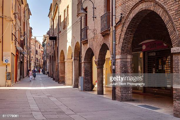 via san romano in the city of ferrara, italy - ferrara foto e immagini stock