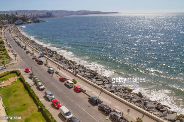 via vina del mar and valparaiso panoramic aerial view - vina del mar stock pictures, royalty-free photos & images