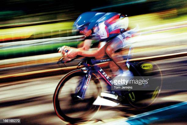 Viacaslav Ekimov of Russia on his way to winning the Olympic men's road race cycling timetrial at Centennial Parklands on September 30th 2000 in...