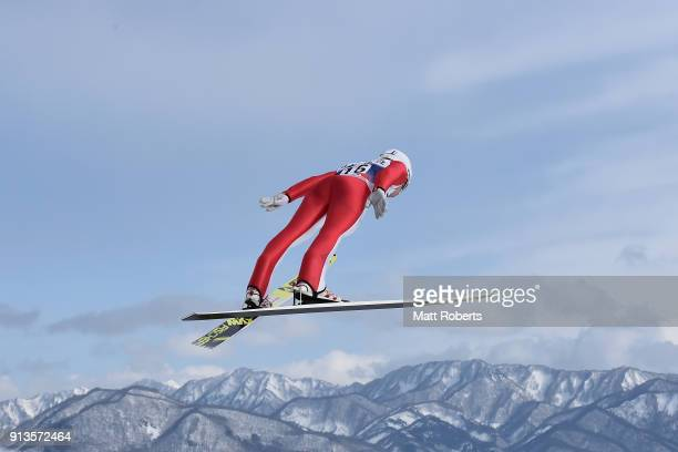 Viacheslav Barkov of Russia competes in the Individual Gundersen LH/10km during day one of the FIS Nordic Combined World Cup Hakuba on February 3...