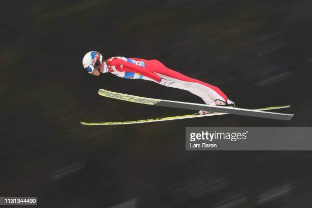 Viacheslav Barkov of Russia jumps during the Nordic Combined Competition of the FIS Nordic World Ski Championships at BergiselSchanze on February 22...