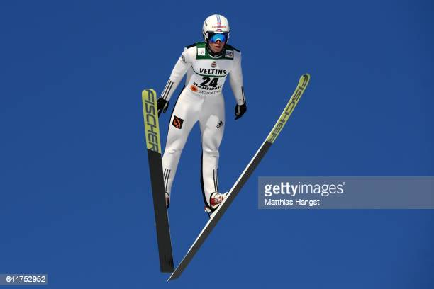Viacheslav Barkov of Russia makes a practice jump prior to the Men's Nordic Combined HS100 during the FIS Nordic World Ski Championships on February...