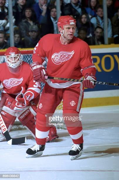 Viacheslav Fetisov of the Detroit Red Wings skates against the Toronto Maple Leafs during NHL game action on February 18 1996 at Maple Leaf Gardens...