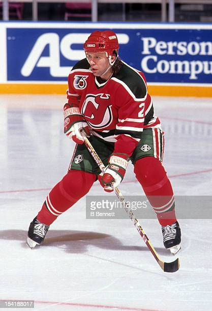 Viacheslav Fetisov of the New Jersey Devils skates on the ice during an NHL game against the New York Rangers on December 23 1992 at the Madison...