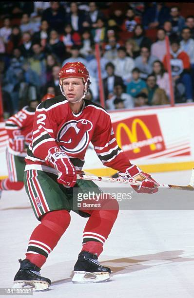 Viacheslav Fetisov of the New Jersey Devils skates on the ice during an NHL game against the Philadelphia Flyers on March 24 1990 at the Spectrum in...