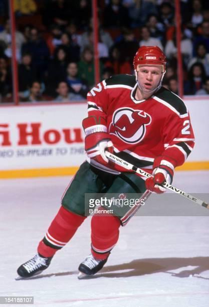 Viacheslav Fetisov of the New Jersey Devils skates on the ice during an NHL game against the Philadelphia Flyers on November 12 1989 at the Spectrum...