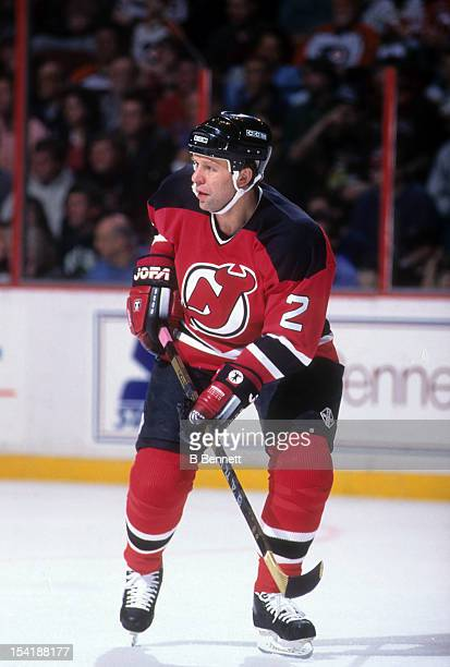 Viacheslav Fetisov of the New Jersey Devils skates on the ice during an NHL game against the Philadelphia Flyers on March 12 1995 at the Spectrum in...