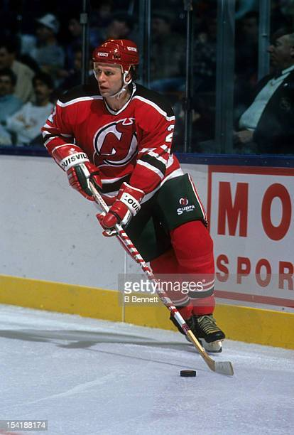Viacheslav Fetisov of the New Jersey Devils skates with the puck during an NHL game against the New York Islanders on December 11 1990 at the Nassau...