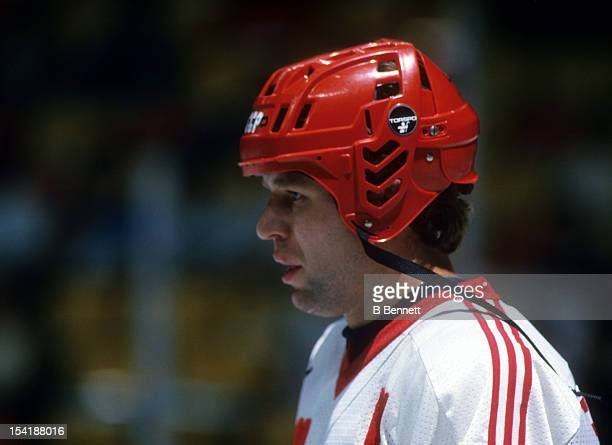 Viacheslav Fetisov of the Soviet Union skates on the ice during the 1987 Canada Cup in September 1987 in Canada