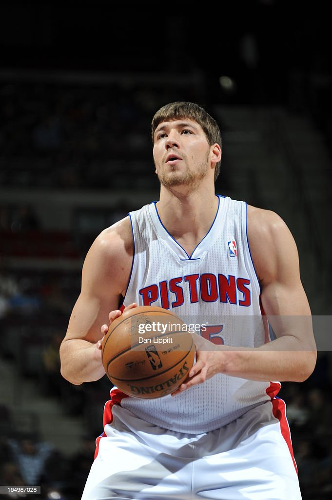Viacheslav Kravtsov #55 of the Detroit Pistons shoots a free throw during the game between the Detroit Pistons and the Toronto Raptors on March 29, 2013 at The Palace of Auburn Hills in Auburn Hills, Michigan.