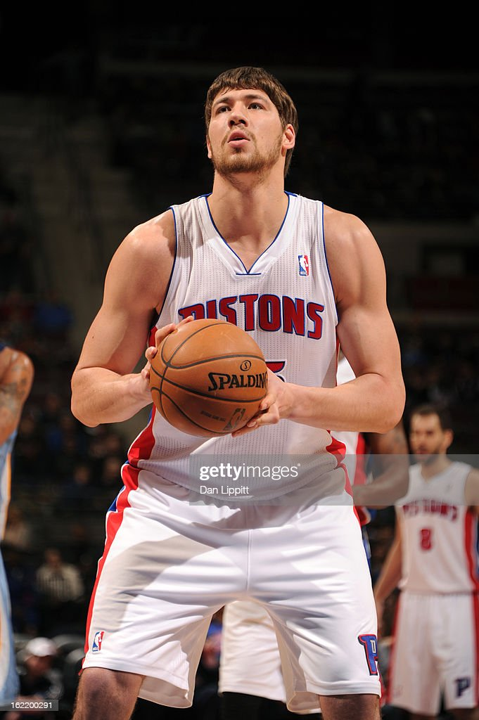 Viacheslav Kravtsov #55 of the Detroit Pistons shoots a free throw against the Memphis Grizzlies on February 19, 2013 at The Palace of Auburn Hills in Auburn Hills, Michigan.