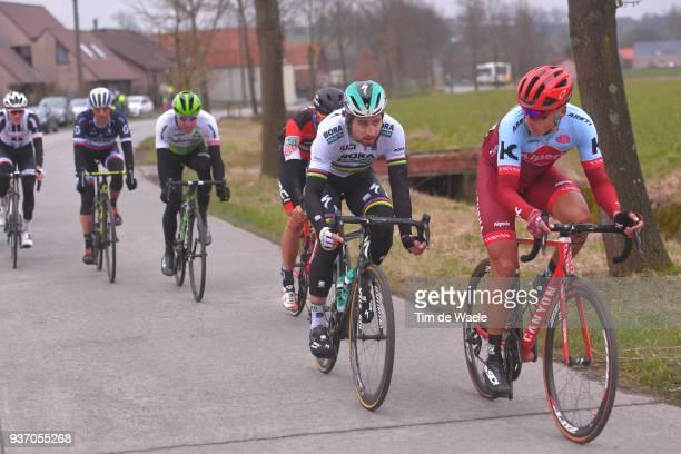 Viacheslav Kuznetsov of Rusia and Team Katusha - Alpecin / Peter Sagan of Slovakia and Team Bora-Hansgrohe / during the 61st E3 Harelbeke 2018 a...