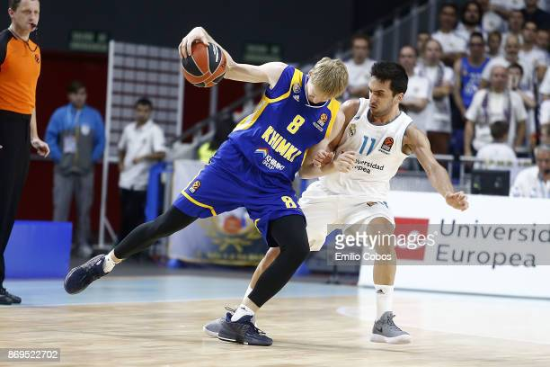 Viacheslav Zaytsev #8 of Khimki Moscow Region in action during the 2017/2018 Turkish Airlines EuroLeague Regular Season Round 5 game between Real...