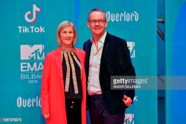 Viacom International Media Networks president David Lynn and his wife Ann pose on the red carpet ahead of the MTV Europe Music Awards at the Bizkaia...