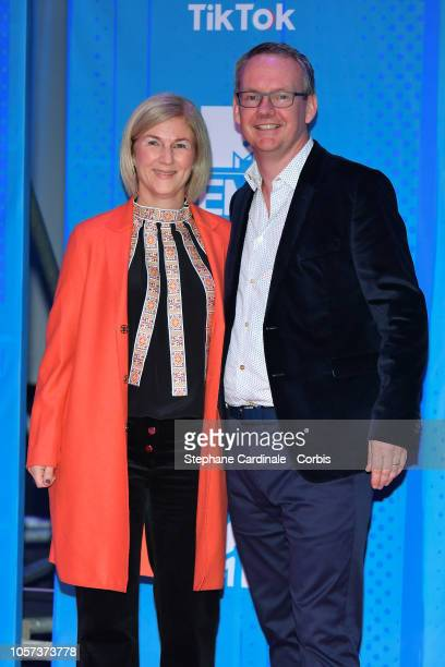 Viacom International Media Networks president David Lynn and his wife Ann attend the MTV EMAs 2018 on November 4 2018 in Bilbao Spain