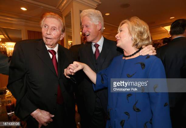 Viacom/CBS Executive Chairman Sumner Redstone, former president Bill Clinton, and former Secretary of State Hillary Clinton attend International...