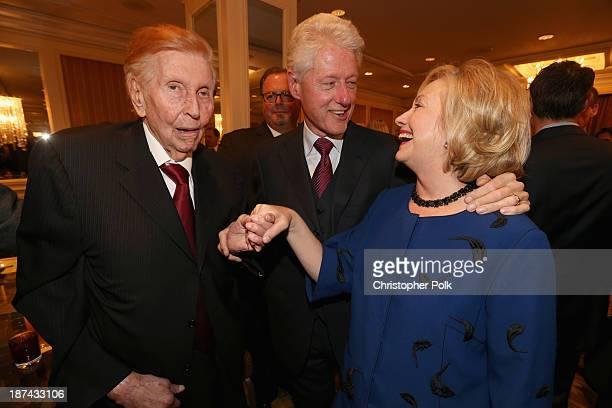Viacom/CBS Executive Chairman Sumner Redstone former president Bill Clinton and former Secretary of State Hillary Clinton attend International...