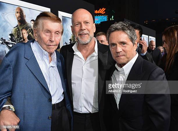 Viacom's Sumner Redstone actors Bruce Willis and Paramount Pictures chairman and CEO Brad Grey attend the premiere of Paramount Pictures' GI Joe...